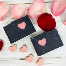 Amber Charcoal Heart Egg Yolk Soap
