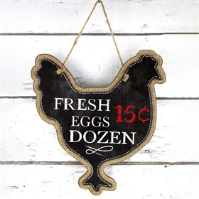 Black Hen Fresh Eggs Wood Sign