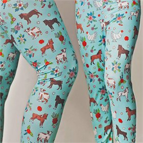 Chicken Leggings, Teal (size options)