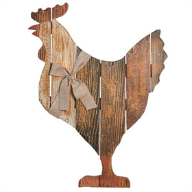 Wooden Slat Hen with Bow