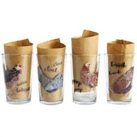 Chicken Drinking Glasses (Set of 4)