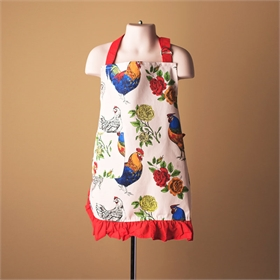 Kids Farm Apron, Red Rooster print