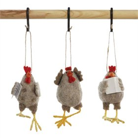Wool Felt Chicken Ornament, 3 styles
