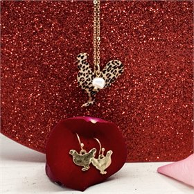 Leopard Print Rooster and Goldtone Necklace & Earring Set