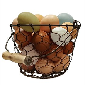 Chicken Wire Egg Basket with Wood Handle (up to 18 eggs)