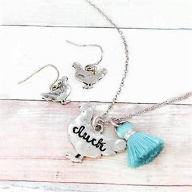 Cluck Hen Burnished Silvertone Necklace & Earring Set