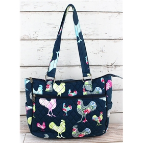Rosy Roosters Quilted Shoulder Tote