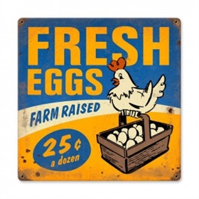 Fresh Eggs Vintage Metal Sign