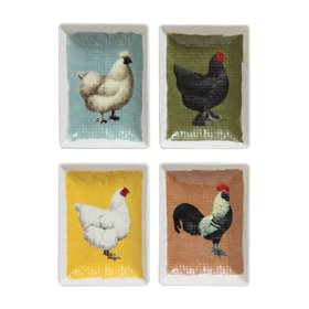 Mini Stoneware Chicken Plates (Set of 4)