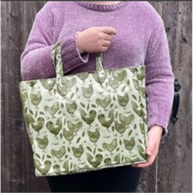 PVC Tote Bag, Vintage Green and White Chickens