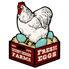 Chubby Chicken Farms Fresh Eggs Sign