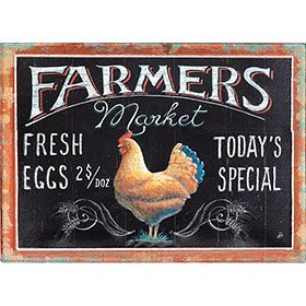 Farmers Market Embossed Tin Sign